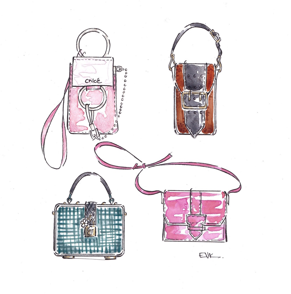 Four SS16 Handbags - Chloe, Burberry Prorsum, Salvatore Ferragamo, Dolce & Gabbana  (2015) Watercolor, marker, and ink on card, 6 x 6 inches © 2015 Elise Vavrus Krohn