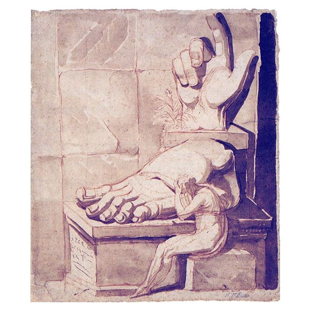"Sort of where I'm at right now. ""The artist's despair at the grandeur of ancient ruins"" Henry Fussli got it. What are our scribbling compared to the mastery of the masters who came before us? 💡🙈 #henryfuseli #inspiration #saturday #illustration #pastel #artistic #antique  #sketchbook #elisevavruskrohn #fashionillustration #collosus #classics #sepia #illustrationfashion #colorinspiration #creative #chalkart #chalkpaint #masterpiece"