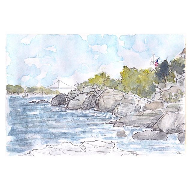 So I took a break, and now I'm back. It's so lovely to be here again! I'm so excited to show you all of my new artwork and to share my new beginning. Stay tuned! ||| A breath of fresh air from Newport. My favorite, tranquil spot below #castlehillinn is a peaceful place to work w #watercolor . . . . #newportri #illustration #npt #rhodeisland #elisevavruskrohn #seaside #travelsketch #pleinair #sketchbook #painting #serenity