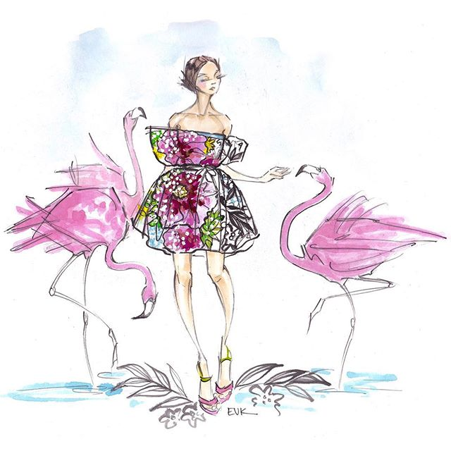Here's my piece for the @marykatrantzou + @drawadot #illustration project! The #ss18 collection is beautiful & I'm excited to see everyone's work! #DrawADotMaryKatrantzou #fashionillustration #watercolor . . . #watercolour #marykatrantzou #springfashion #flamingo #pink #elisevavruskrohn #floral #aquarelle #tropical