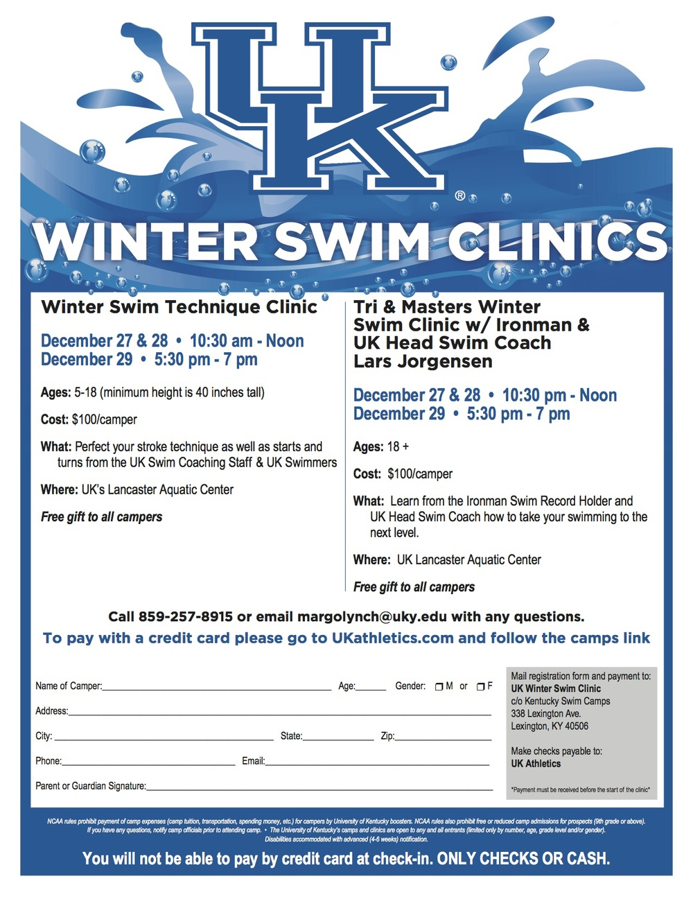 **NKSM TEAM CONTEST - the first swimmer to email Coach Loretta with the UK Coach name and dates of the clinic will win a prize.