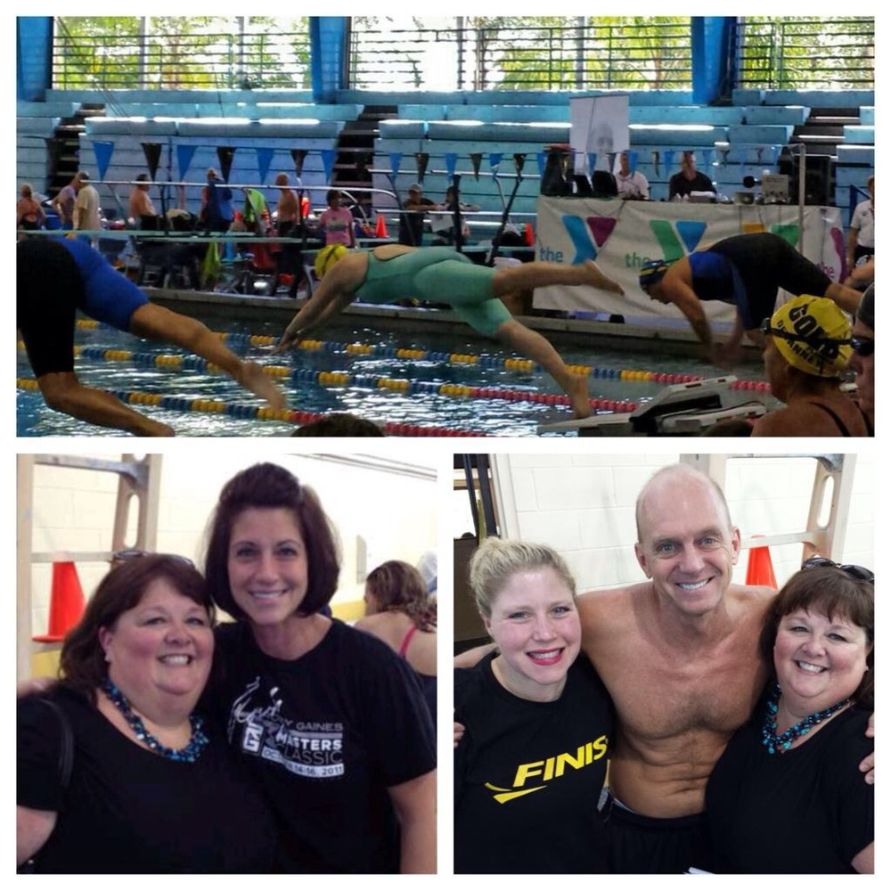 Top: Coach Retta launching into the 50free; My friend, Kim (with necklace), Judy Gaines (wife of Rowdy), and Rowdy Gaines.