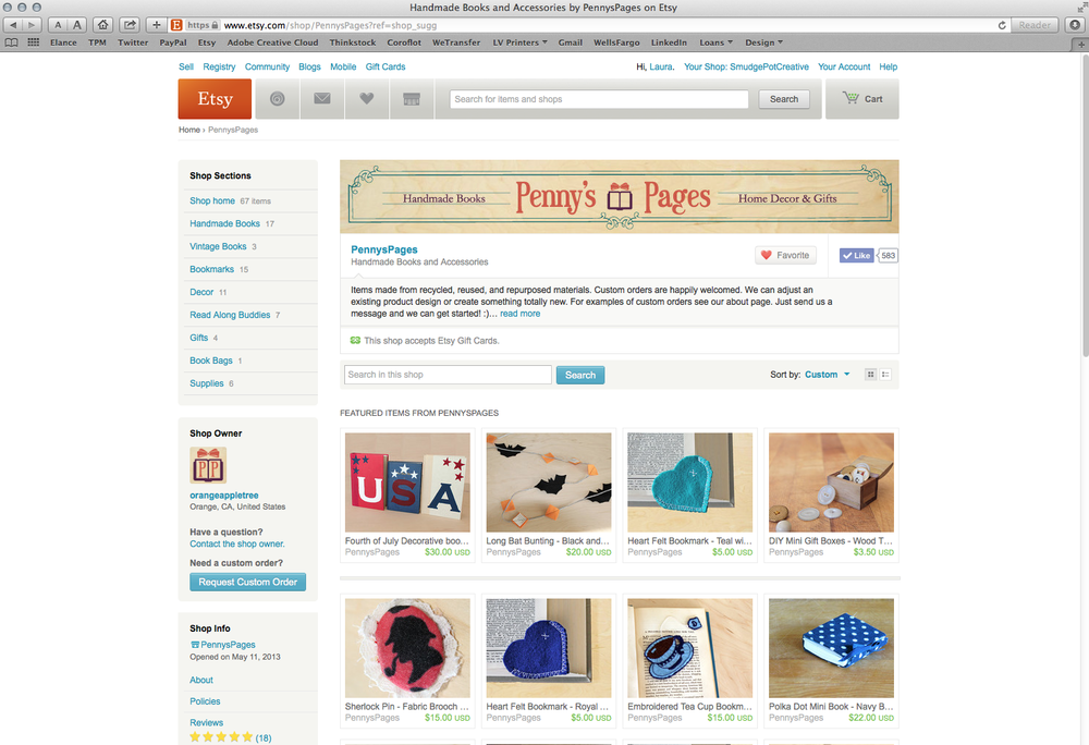 Penny's Pages Custom Etsy Shop Banner