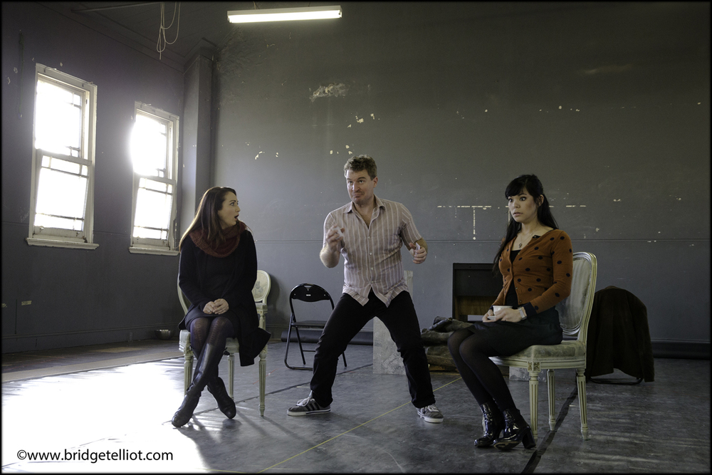 Amelia Farrugia, Stuart Haycock and Janet Todd rehearse for Pinchgut Opera