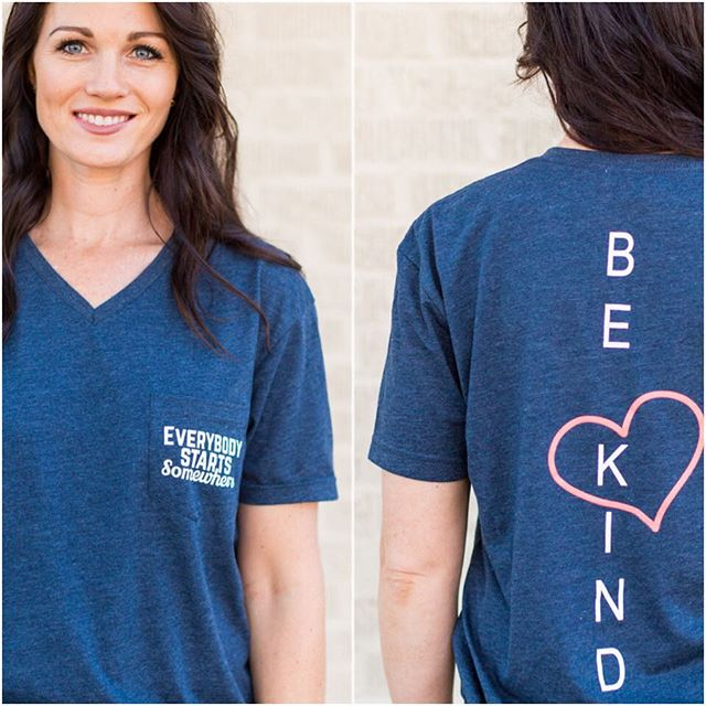 """Grab your """"Be Kind"""" pocket tee now for 50% off and be ready to hit the gym with a helpful reminder that we all start somewhere and it costs us nothing to Be Kind (even if our favorite machine is taken in January)❤️❤️❤️ ————————— All merchandise 50% off + $1.99 flat rate with code: BF2017"""