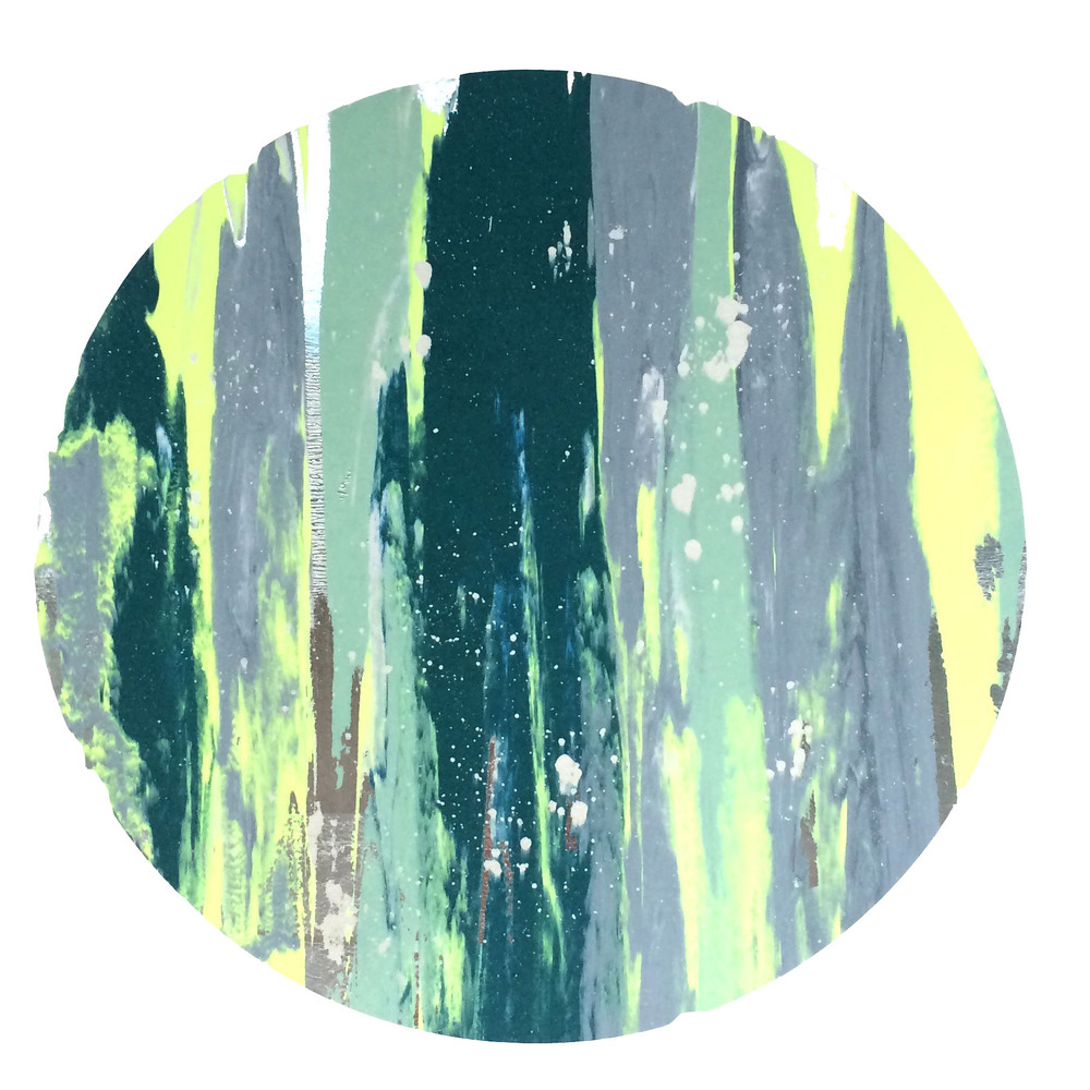 "16"" Circle. Dark Green, Slate Blue, Mint Green, Neon Yellow, Iridescent Pear White Splatter, Metallic Silver Foil."
