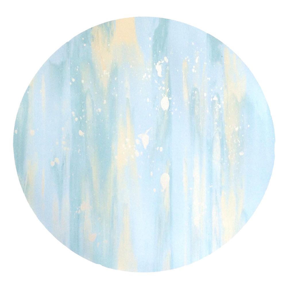 "16"" Circle. PastelBlue, Pastel Turquoise, Pastel Peach, Iridescent Pearl White Splatter."