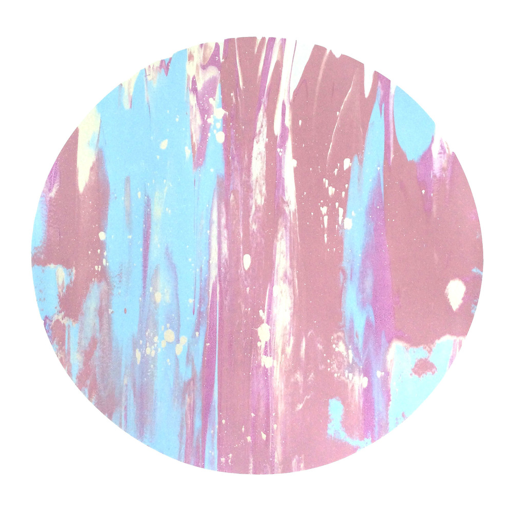 "16"" Circle. Light Blue, Bubblegum Pink, Purple, Iridescent Pearl White Splatter."