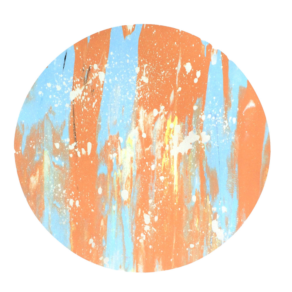 "16"" Circle. Light Blue, Orange, Neon Yellow, Black, Iridescent White Pearl Splatter."