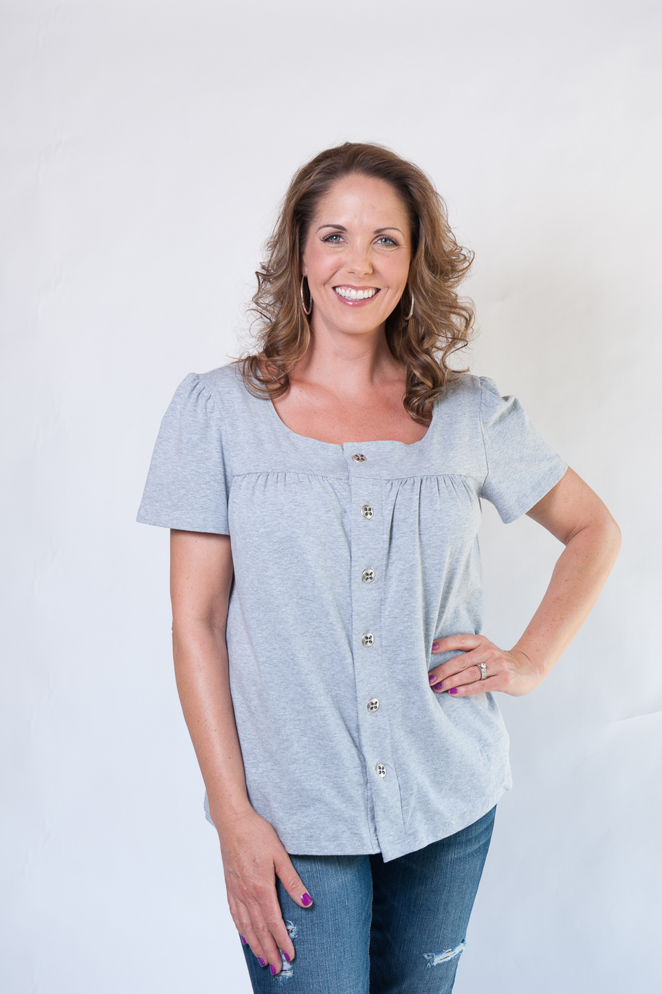Lesa - Short Sleeve Button-Up Top in GREY $65.95