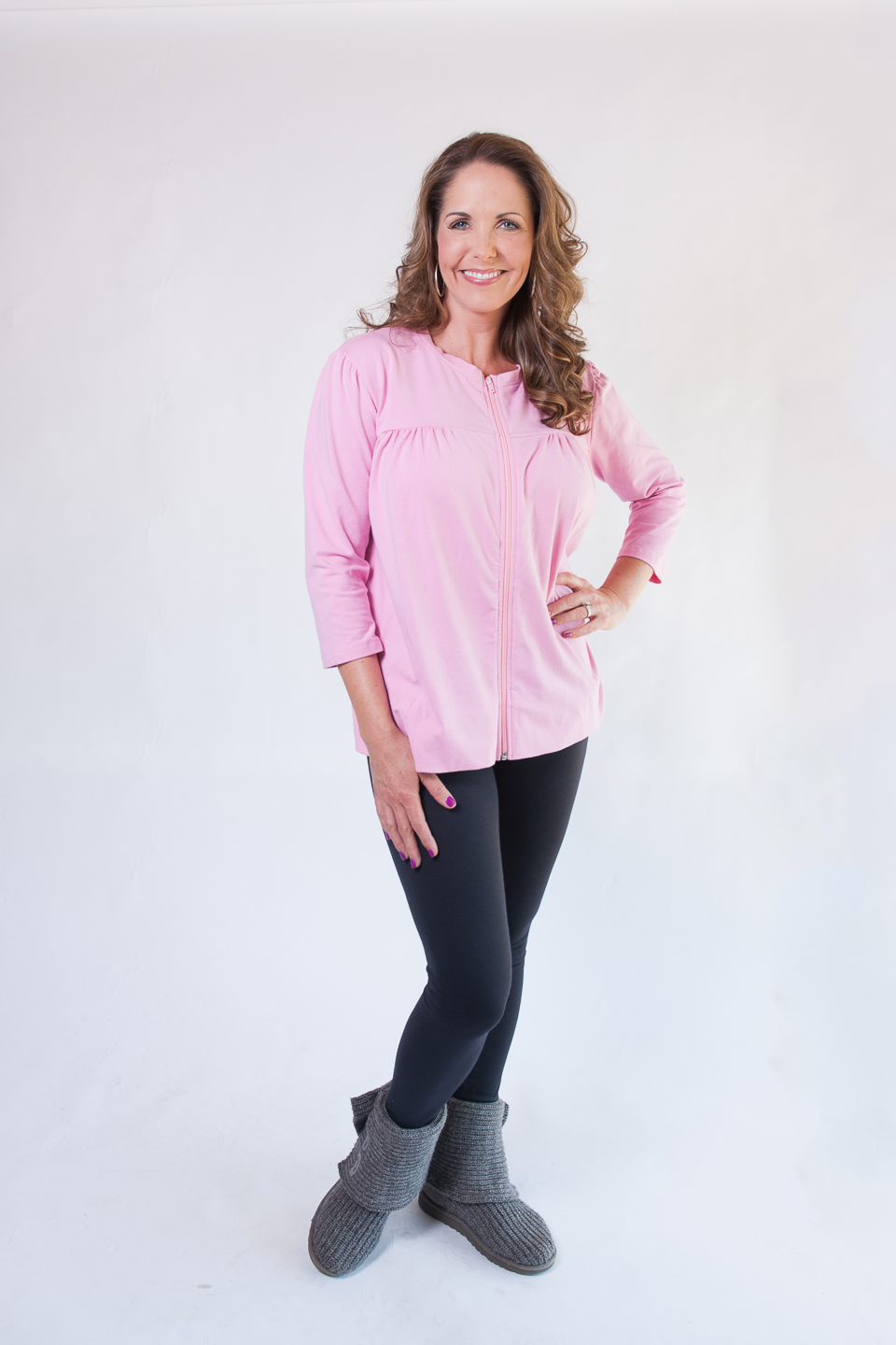 The POT Top - Long Sleeve Zip-Front Top in PINK $69.95
