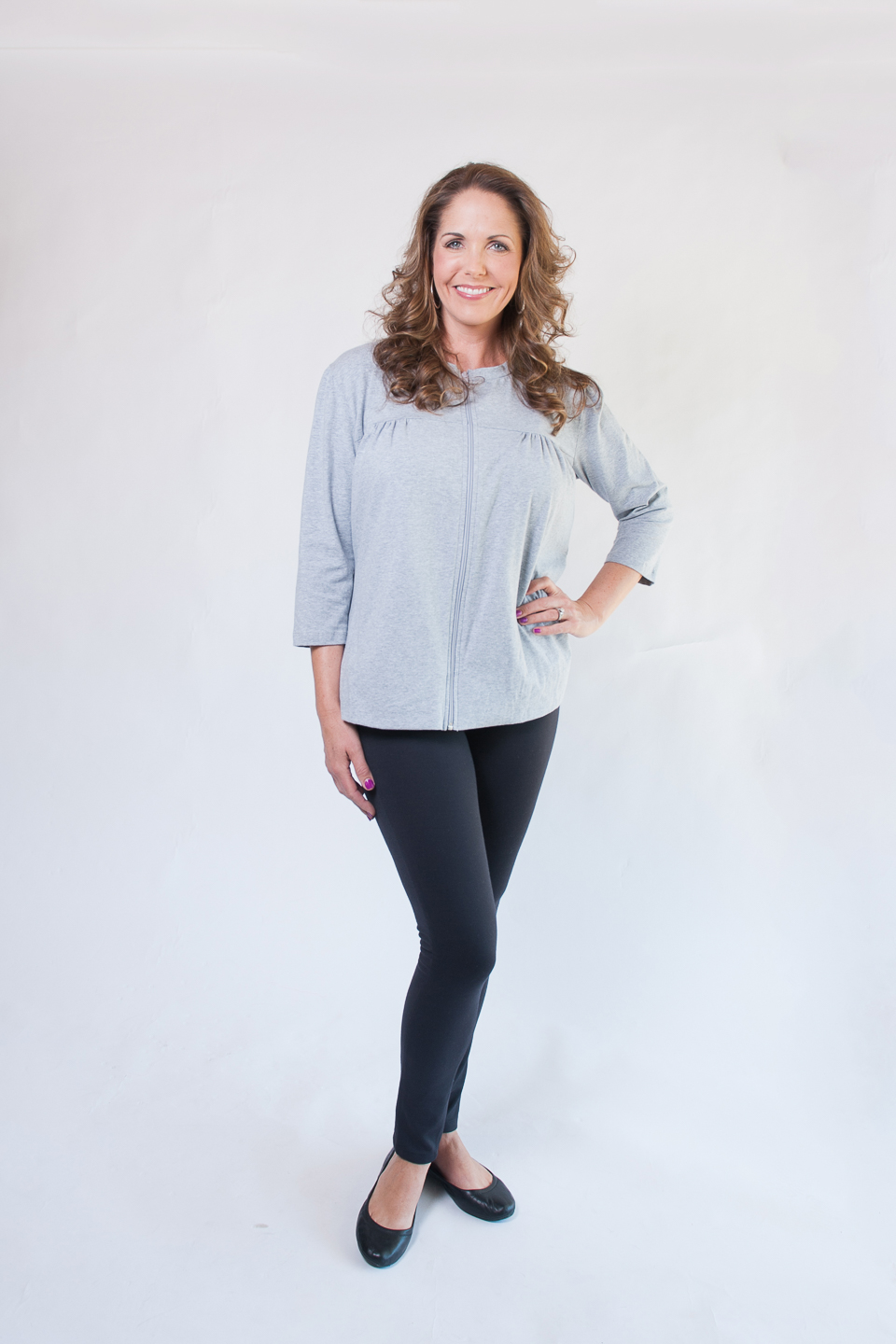 The POT Top - Long Sleeve Zip-Front Top in GREY $69.95
