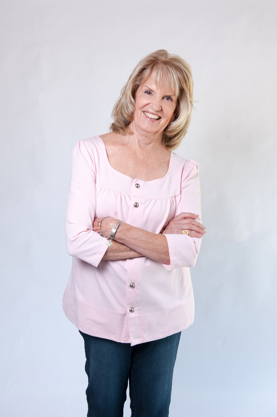 Dianne - Long Sleeve Button-Up Top in PINK $69.95