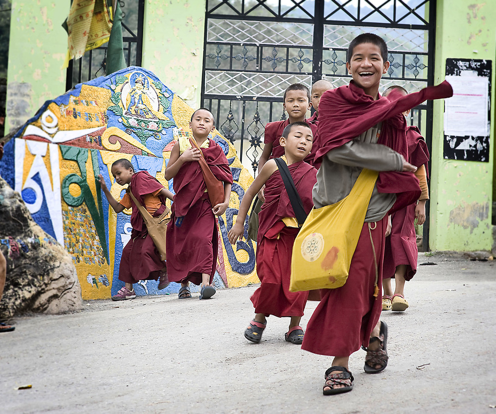 Young monks on their way to school, Tso Pema