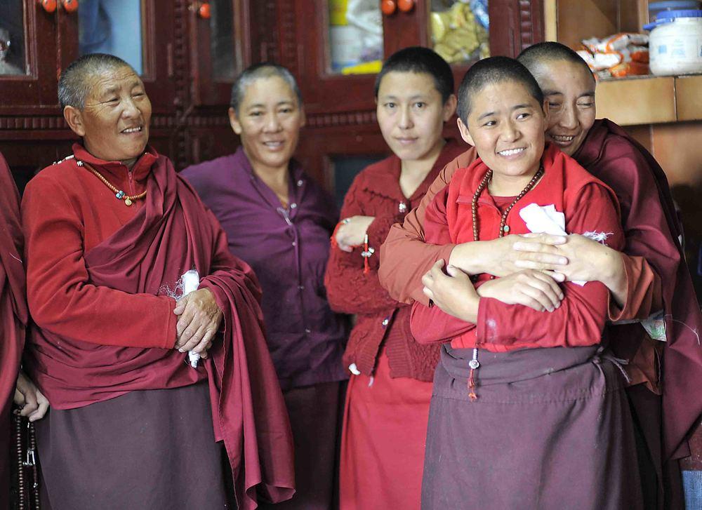 Nuns at Holy Cave of Padmasambhava