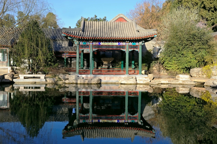 The music pavilion in Aman at Summer Palace on a blue sky day