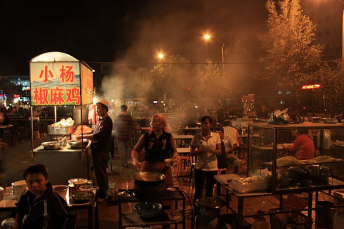 A typical open-air local restaurant in Xinjiang province.