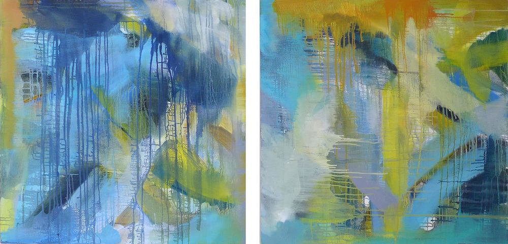 "Movements in Nature-5        30 x 60"" diptych oil on linen copyright 2016"