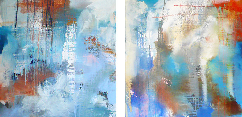 Storm  (Diptych) 2 panels  each 30 x 30  oil on canvas