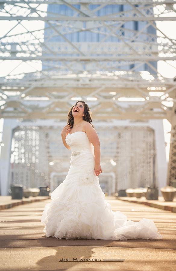 Bride on pedestrian walking bridge