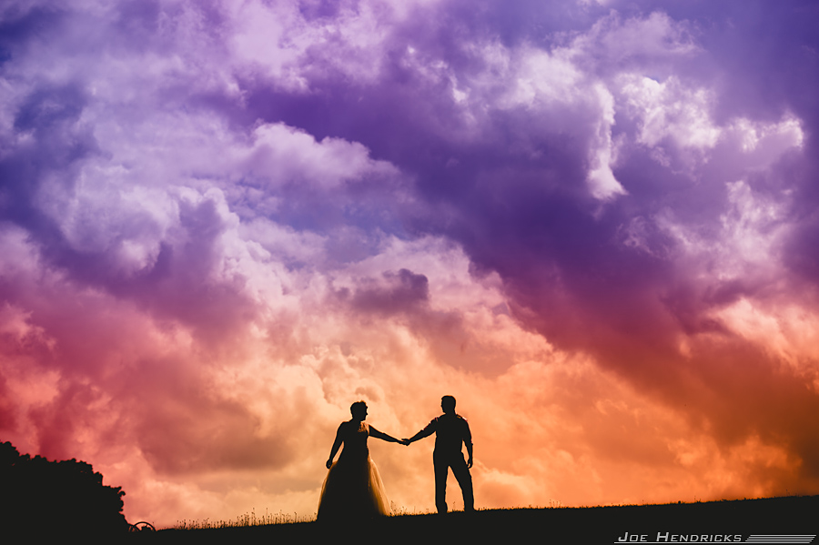 Bride and Groom amazing sunset picture