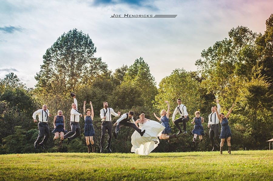 bridal party jumping