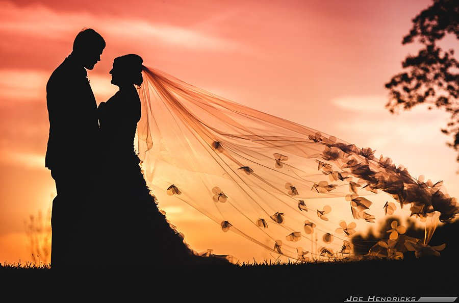 A beautiful handmade wedding veil looks great at sunset!