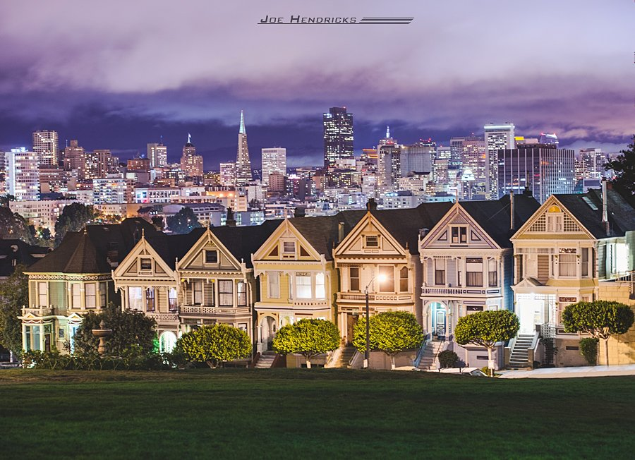 The Painted Ladies at night in Alamo Square
