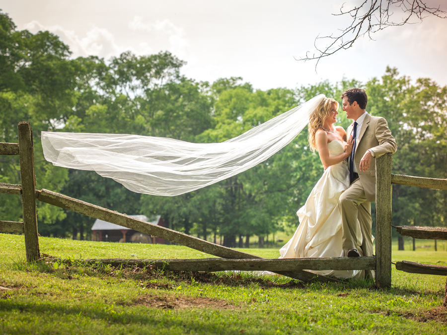 amazing bride and groom shot with veil
