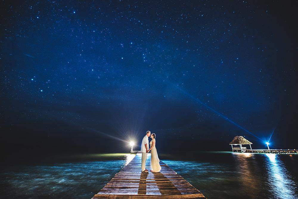 Belize wedding at night