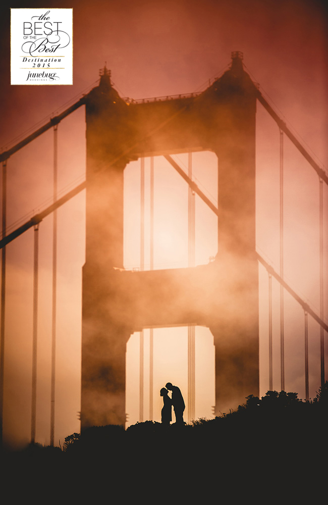 Silhouette of couple kissing under Golden Gate Bridge
