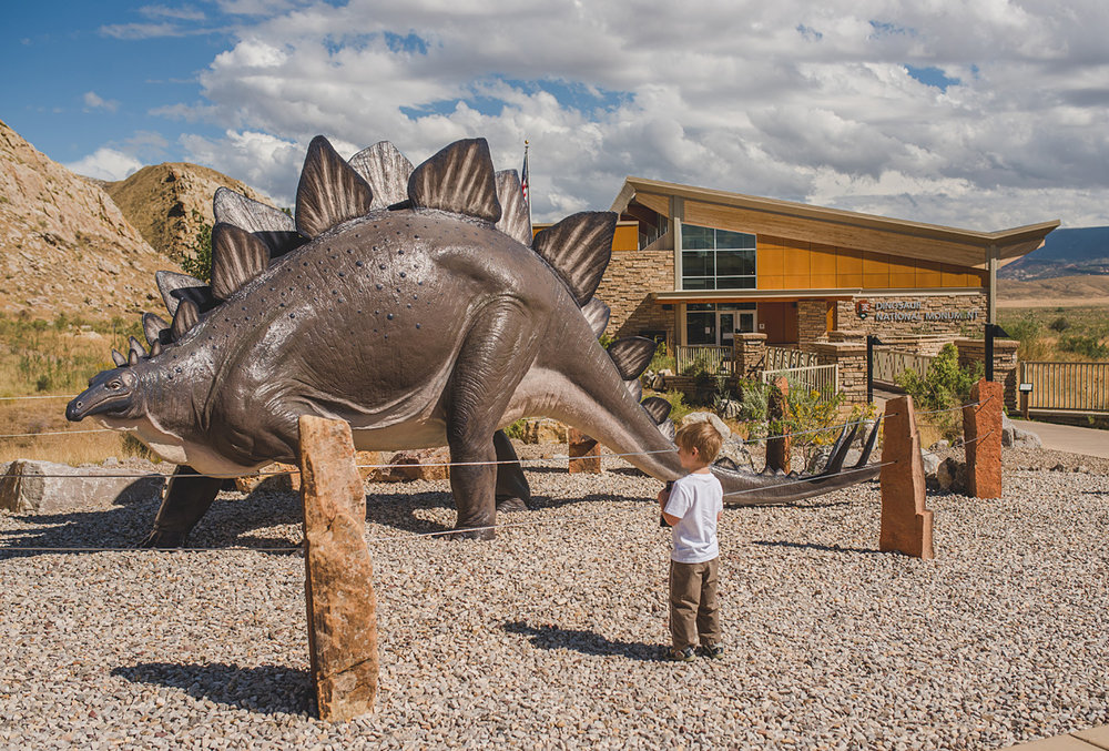 Austin loved it from the very beginning, seeing a huge stegosaurus outside the visitor center.
