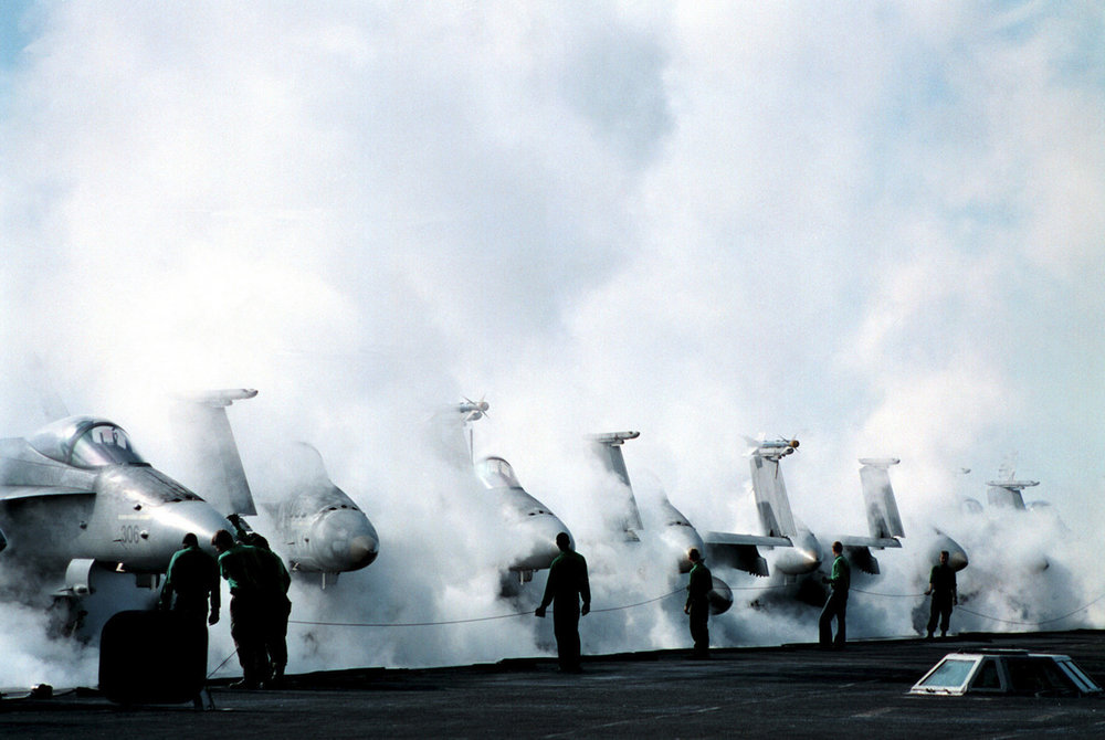 971114-N-2302H-001Aboard USS George Washington (November 14, 1997) -- A catapult team performs a first run Òno-loadÓ on the number two catapult steam system during morning preparations for launch. George Washington and her embarked Carrier Air Wing One (CVW-1) are currently deployed on a regularly scheduled deployment to the eastern Mediterranean. The President has ordered the George Washington and elements of her Battle Group to proceed to the Arabian Gulf to support UN efforts to complete Iraqi compliance with UN resolutions, joining the USS Nimitz already on station.  U.S. Navy photo by PhotographerÕs Mate 3rd Class Joseph Hendricks (Released)