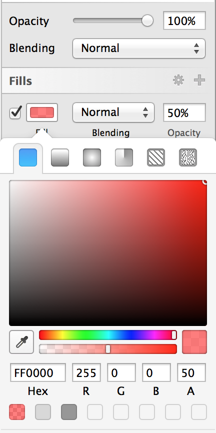 (Make sure that the fill color is 50% alpha - the layer opacity should remain at 100%. Otherwise, whenever you drag a photo into your designs, it'll show up as transparent - yuck!)