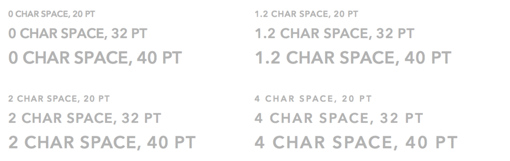See how the smaller type sizes are more spread out than their larger counterparts?