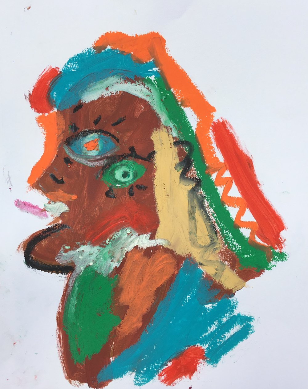 """oil stick and acrylic on paper 11"""" x 14"""""""