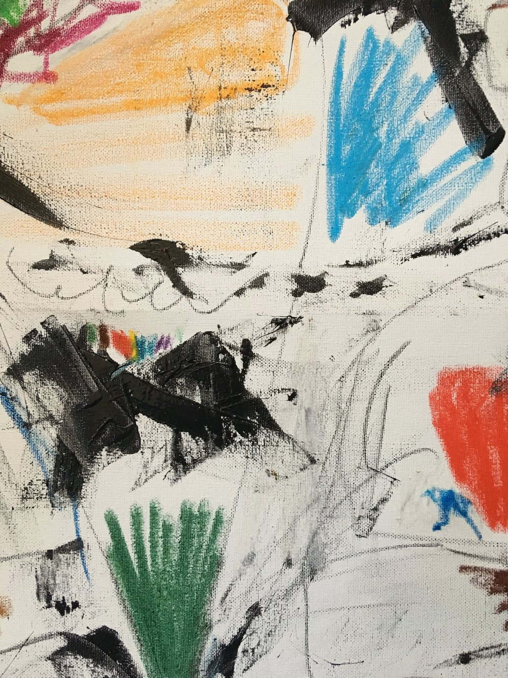 """toothpaste, crayon and charcoal on canvas 20' x 24"""""""