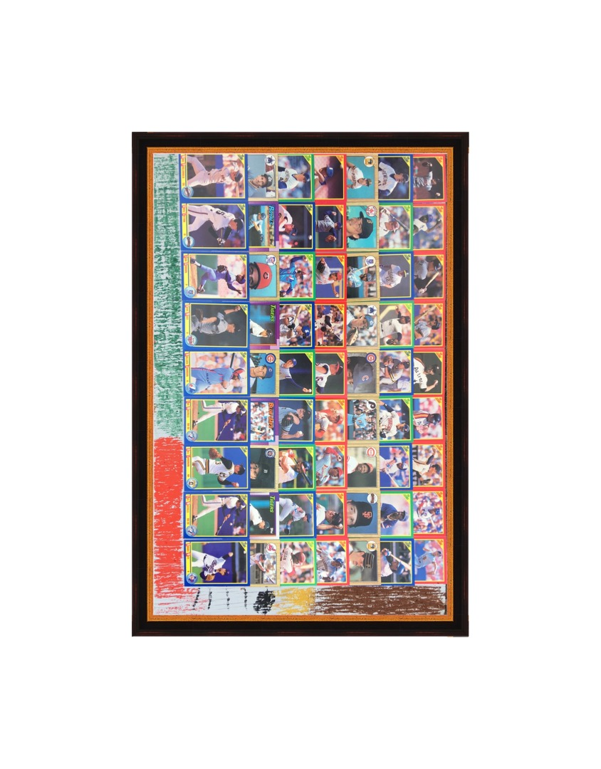 """baseball cards and crayon on wood. each card is 2.5"""" x 3.5"""""""
