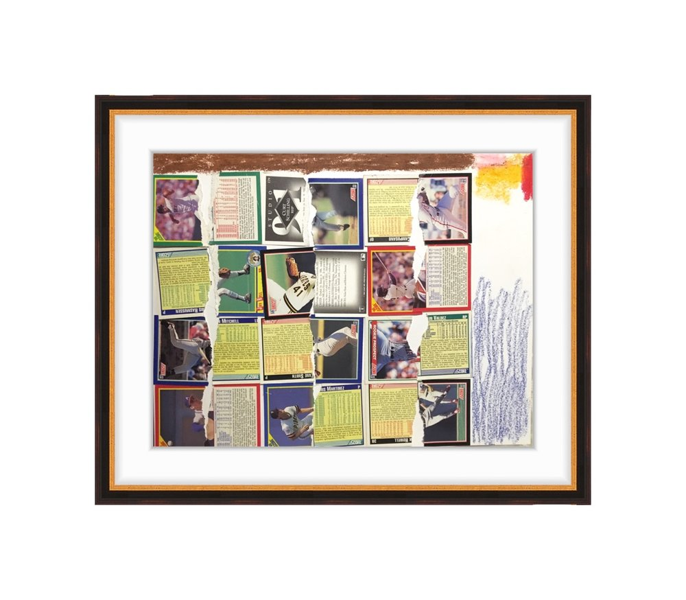 """baseball cards and crayon on paper. each card is 2.5"""" x 3.5"""""""