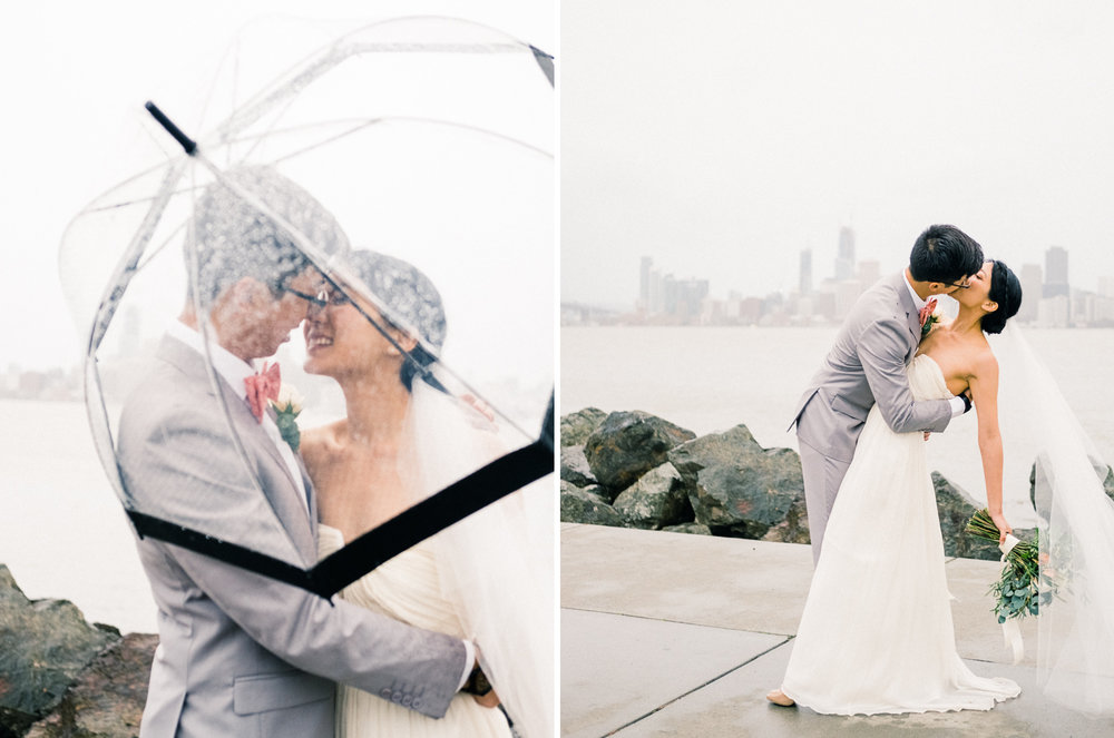 bride and groom with umbrella rainy san francisco bay wedding