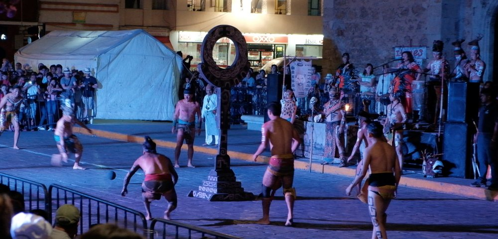 Every Friday the locals play Mayan Ballgame in front of the cathedral
