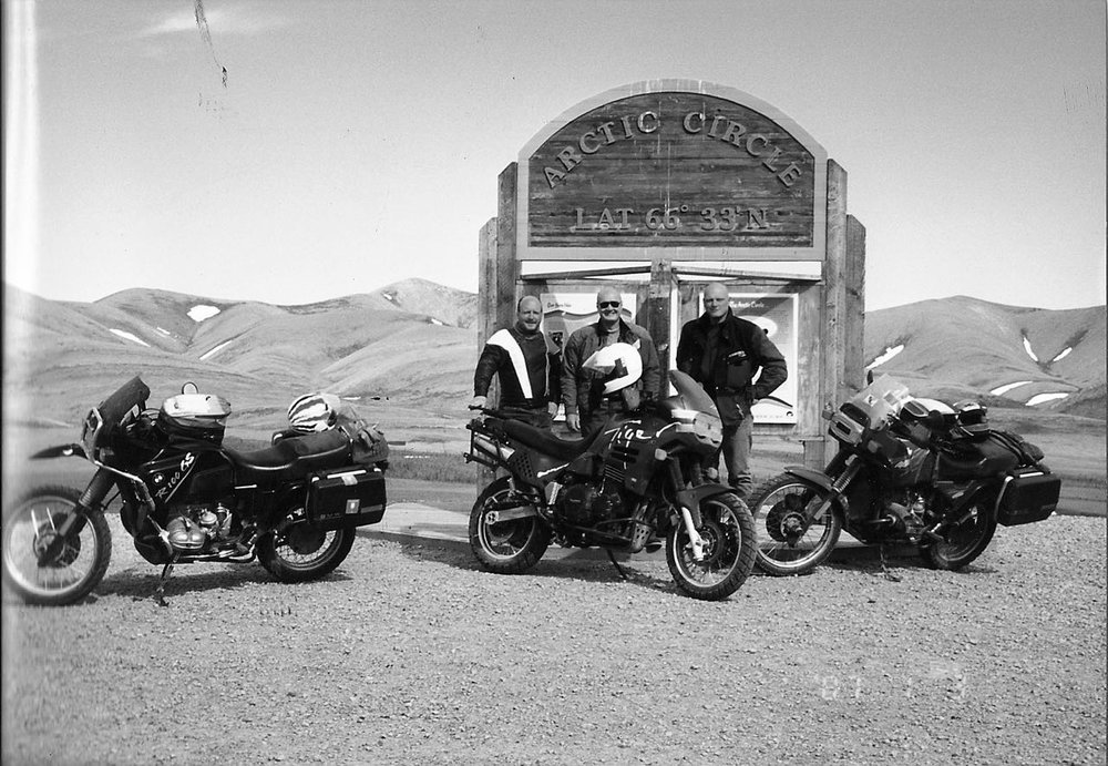 The Muskox at the Artcic Circle with two of my brothers and an R100GS PD and a Triumph Tiger