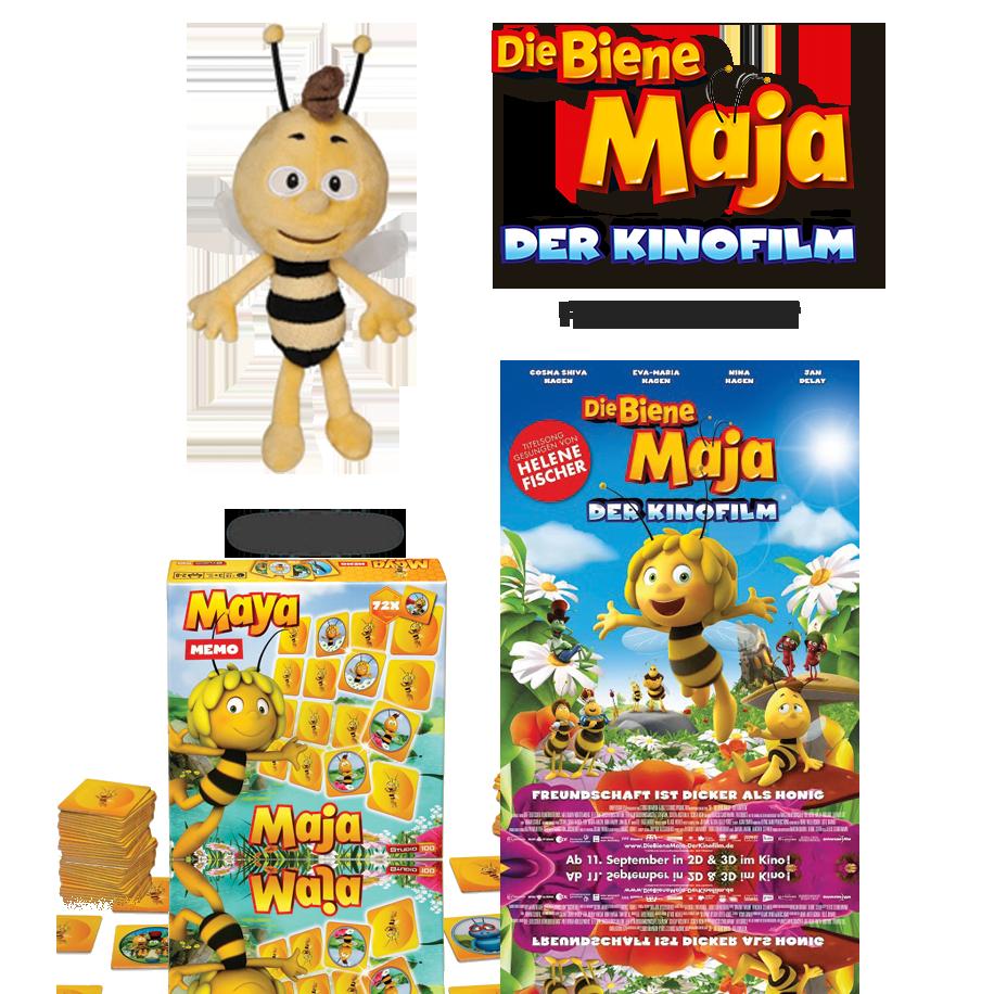 """Du kannst eines von 4 exklusiven ,,Die Biene Maja - Der Kinofilm"""" Fan-Paketen gewinnen. Bestehend aus: 1 Willi Plüsch, ein ,,Die Biene Maja"""" Memory Spiel und jeweils ein Original Filmplakat."""