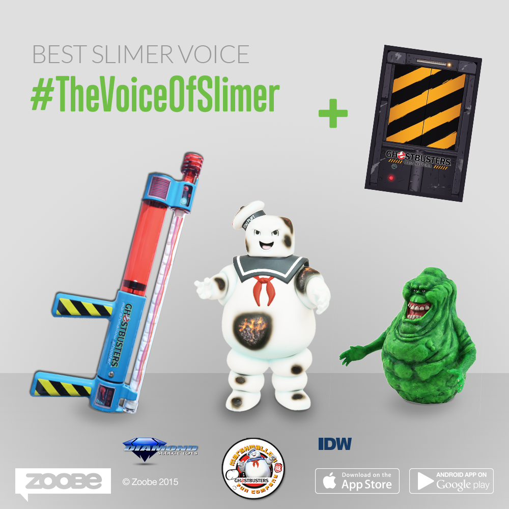 Be picked by the Jury as the Best Slimer voice impression and win a Marshmallow shooter, a Slimer and Stay Puft Piggy Bank and a Ghostbusters  comic hardcover!