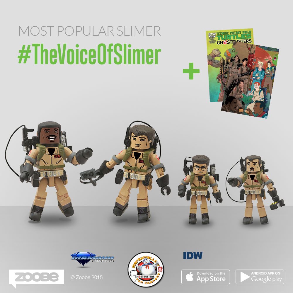 If your video with your Slimer voice is the most liked, commented and shared of all the public videos posted, you'll get the Ghostbusters Minimates & 2  comics with rare covers*!