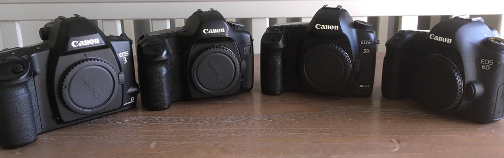 Keeping it in the family - from left to right EOS 3 (film camera) - 5D Classic, 5D Mk2 and 6D can you see the resemblance?