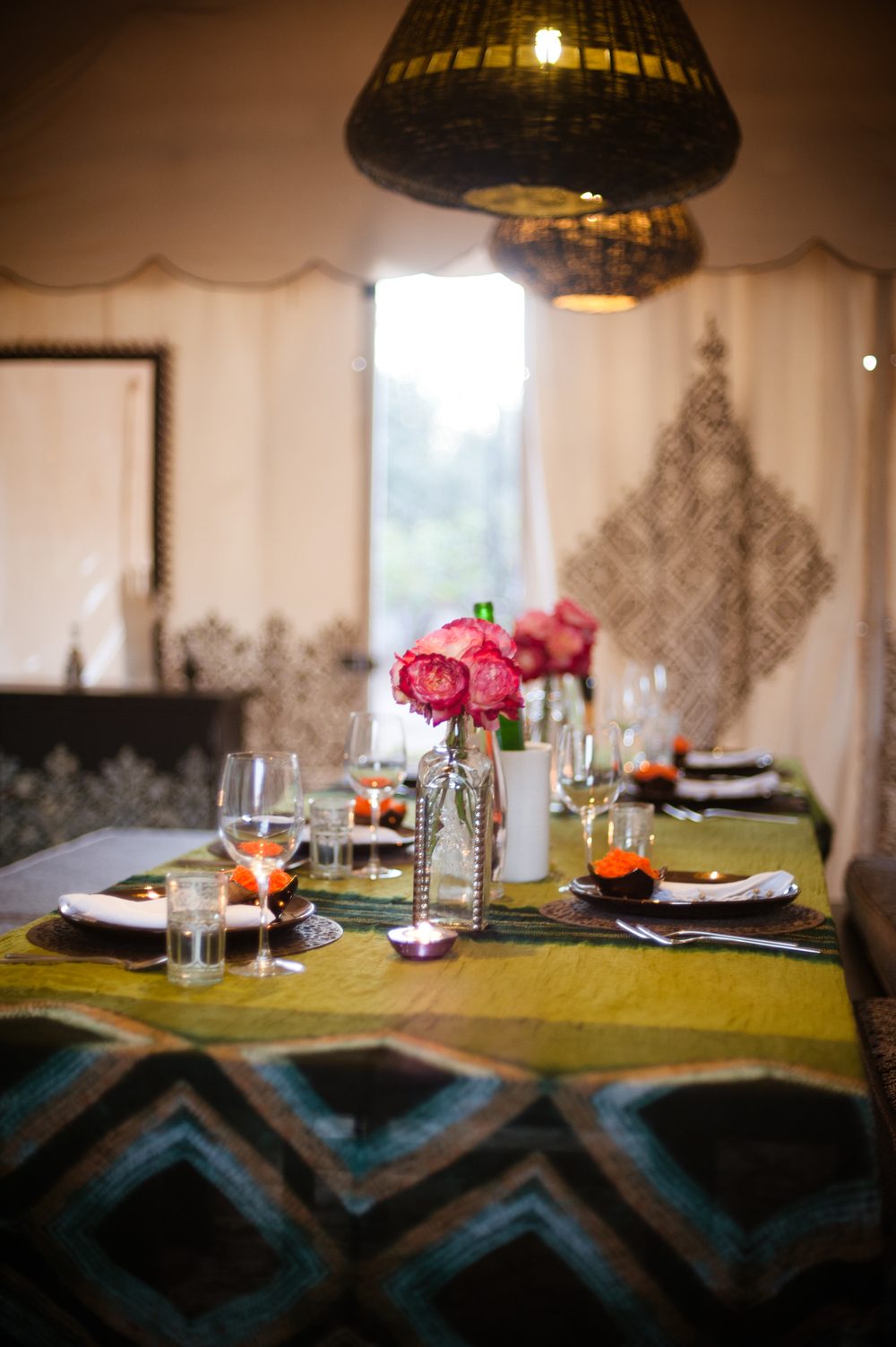 M.Montague - Tribal Chic for the Modern Nomad - Dining Tent at Peacock Pavilions, Marrakech, Morocco