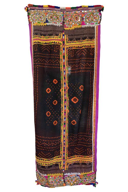 Vintage Indian Wedding Shawl Textile Throw 4101
