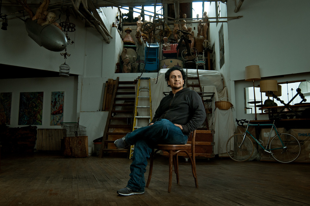 Portrait of a Mexican man in a loft building