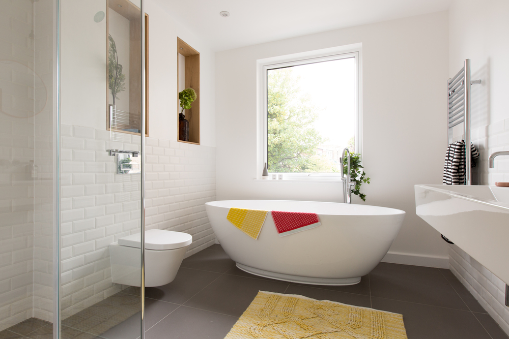That dream bath tub in the family bathroom, there is also a double sink and walk in shower.